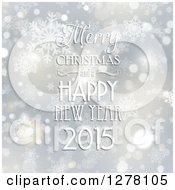Clipart Of A Merry Christmas And A Happy New Year 2015 Greeting Over Snowflakes And Stars Royalty Free Vector Illustration