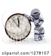 Clipart Of A 3d New Year Robot Presenting A Wall Clock Royalty Free Illustration