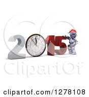 Clipart Of A 3d New Year Robot Presenting A Wall Clock In 2015 Royalty Free Illustration