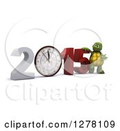 Clipart Of A 3d New Year Tortoise Presenting A Wall Clock In 2015 Royalty Free Illustration