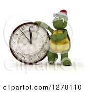 Clipart Of A 3d New Year Tortoise Presenting A Wall Clock Royalty Free Illustration