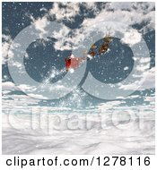 Clipart Of 3d Christmas Magic Reindeer Flying Santa In A Sleigh Over A Snowy Mountain Landscape Royalty Free Illustration