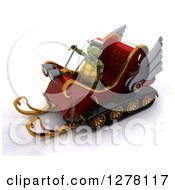 Clipart Of A 3d Christmas Tortoise Driving A Sleigh Mobile Royalty Free Illustration