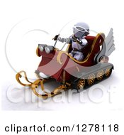 Clipart Of A 3d Christmas Robot Driving A Sleigh Mobile Royalty Free Illustration