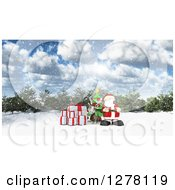 3d Christmas Reindeer And Santa With Gifts And A Tree On A Winter Day