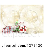 3d Christmas Reindeer And Santa With Gifts And A Tree Over Gold