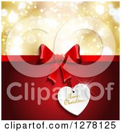 Clipart Of A Merry Christmas Greeting Under A Red Gift Bow And Tag With Gold Bokeh Royalty Free Vector Illustration