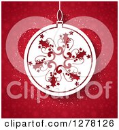 Clipart Of A White Snowflake Christmas Bauble Over Red Snowflakes Royalty Free Vector Illustration