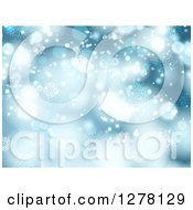 Clipart Of A Blue Christmas Background Of Bokeh With Snowflakes Royalty Free Vector Illustration