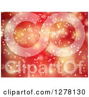 Clipart Of A Red Christmas Background Of Gold Bokeh With Snowflakes Royalty Free Vector Illustration