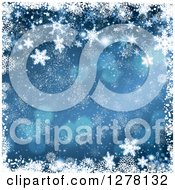 Clipart Of A Christmas Background Of Blue Bokeh Flares And Snowflakes 2 Royalty Free Illustration