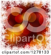 Clipart Of A Christmas Background Of Red And Gold Bokeh Flares And White Snowflakes 2 Royalty Free Illustration