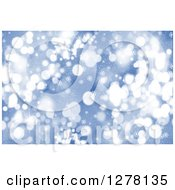 Clipart Of A Christmas Background Of Blue Bokeh Flares And Snowflakes 3 Royalty Free Illustration