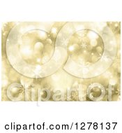 Clipart Of A Christmas Background Of Gold Bokeh Flares And Snowflakes Royalty Free Illustration