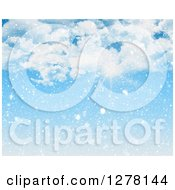 Clipart Of The Sun Shining Nhrough Clouds On A Snowy Day Royalty Free Illustration