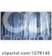 Clipart Of A 3d Dark Forest With Fog Snow And Light Shining Through Some Of The Trees Royalty Free Illustration