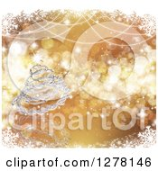 Clipart Of A 3d Silver Wire Christmas Tree Over Gold Stars And Bokeh In A Frame Of Snowflakes Royalty Free Illustration