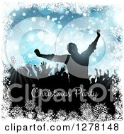 Clipart Of A Silhouetted Group Of People Dancing At A Christmas Party Over Blue With Snowflakes And Bokeh Over Text Royalty Free Vector Illustration