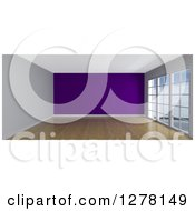 Clipart Of A 3d Empty Room Interior With Floor To Ceiling Windows And A Purple Wall Royalty Free Illustration