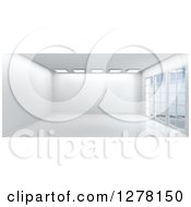 Clipart Of A 3d Empty White Room Interior With Floor To Ceiling Windows And Skylights Royalty Free Illustration