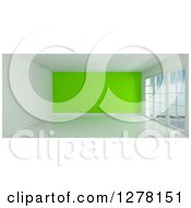 Clipart Of A 3d Empty Room Interior With Floor To Ceiling Windows And A Lime Green Wall Royalty Free Illustration
