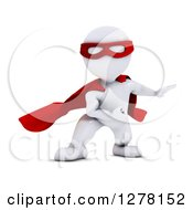 Clipart Of A 3d White Man Super Hero Landing From Flight Royalty Free Illustration