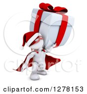 Clipart Of A 3d White Super Hero Santa Man Landing With A Christmas Gift Royalty Free Illustration