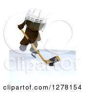Clipart Of A 3d Brown Man Ice Hockey Player In Action Royalty Free Illustration