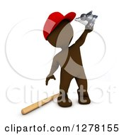 Clipart Of A 3d Brown Man Baseball Player Holding Up A Trophy Royalty Free Illustration