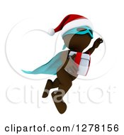 Clipart Of A 3d Brown Super Hero Santa Man Flying With A Christmas Gift Royalty Free Illustration