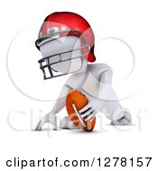 Clipart Of A 3d White Man In Profile Ready For Football Kick Off Royalty Free Illustration