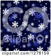 Clipart Of A Seamless Christmas Background Of White Winter Snowflakes On Dark Blue Royalty Free Illustration