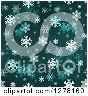 Clipart Of A Seamless Christmas Background Of White Winter Snowflakes On Teal Royalty Free Illustration by oboy #COLLC1278160-0118