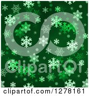 Clipart Of A Seamless Christmas Background Of White Winter Snowflakes On Dark Green Royalty Free Illustration