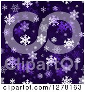 Seamless Christmas Background Of White Winter Snowflakes On Dark Purple 2