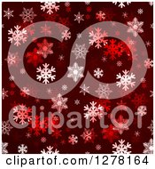 Seamless Christmas Background Of White Winter Snowflakes On Dark Red