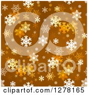Seamless Christmas Background Of White Winter Snowflakes On Brown