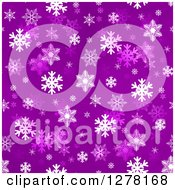 Clipart Of A Seamless Christmas Background Of White Winter Snowflakes On Lilac Royalty Free Illustration