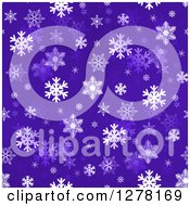 Seamless Christmas Background Of White Winter Snowflakes On Dark Purple