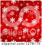 Clipart Of A Seamless Christmas Background Of White Winter Snowflakes On Red Royalty Free Illustration