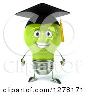 Clipart Of A 3d Happy Green Light Bulb Graduate Character Royalty Free Illustration