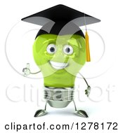 Clipart Of A 3d Happy Green Light Bulb Graduate Character Holding A Thumb Up Royalty Free Illustration