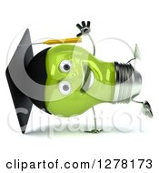 Clipart Of A 3d Happy Green Light Bulb Graduate Character Cartwheeling Royalty Free Illustration