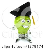 Clipart Of A 3d Happy Green Light Bulb Graduate Character Holding A Thumb Up 2 Royalty Free Illustration