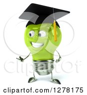 Clipart Of A 3d Happy Green Light Bulb Graduate Character Presenting Royalty Free Illustration
