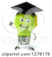 Clipart Of A 3d Happy Green Light Bulb Graduate Character Holding Up A Finger Royalty Free Illustration