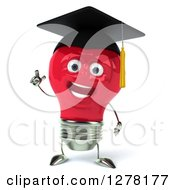 Clipart Of A 3d Happy Red Light Bulb Graduate Character Holding Up A Finger Royalty Free Illustration
