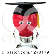 Clipart Of A 3d Happy Red Light Bulb Graduate Character Pouting Royalty Free Illustration