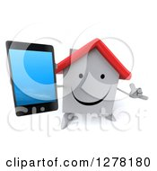 Clipart Of A 3d Happy White House Character Gesturing Call Me And Holding Up A Smart Phone Royalty Free Illustration
