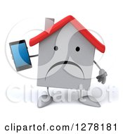 Clipart Of A 3d Unhappy White House Character Holding A Smart Phone Royalty Free Illustration